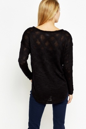 Ribbed Neck Loose Knit Jumper