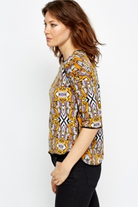 Contrast Trim Printed Orange Top