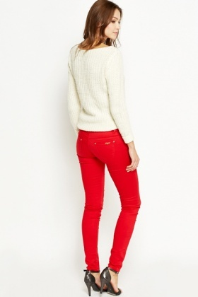 Gold Button Slim Leg Trousers