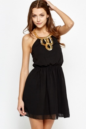 Metallic Chain Halterneck Dress