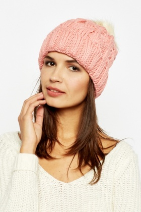 Pink Faux Fur Bobble Hat