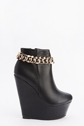 Chain Trim Wedge Ankle Boots