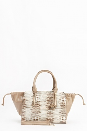 Drawstring Top Contrast Large Handbag