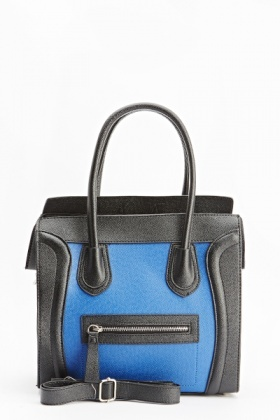 Two Tone Contrast Structured Box Bag