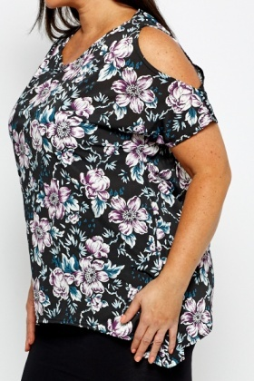 Cold Shoulder Flower Top