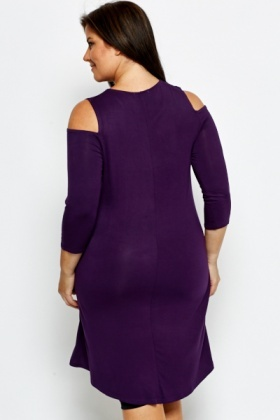 Cut Out Sleeve Purple Top
