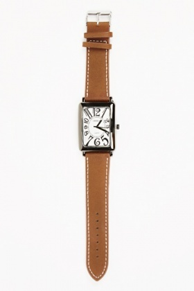 Faux Leather Strap Square Face Watch