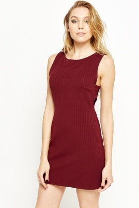 Burgundy Cut Out Ribbed Shift Dress