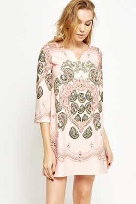 Mix Paisley Print Dress