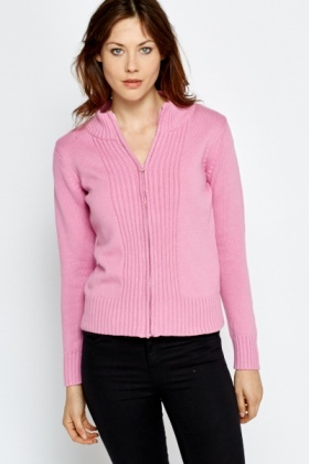 Ribbed Trim Zipped Cardigan