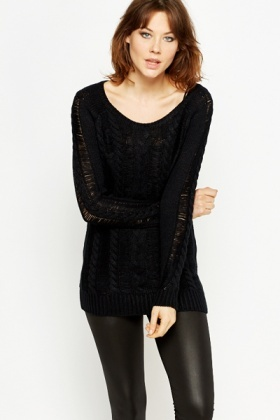Round Neck Cable Knit Jumper