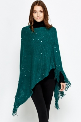 Sequin Fringed Poncho