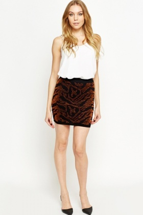 Textured Metallic Bodycon Skirt