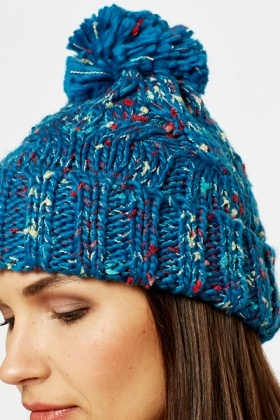 Blue Speckled Beanie Hat