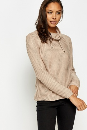 Cowl Neck Drawstring Jumper