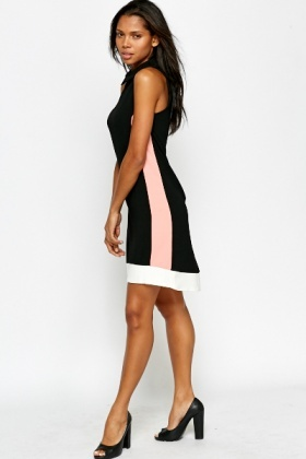 Black Contrast Collared Dress