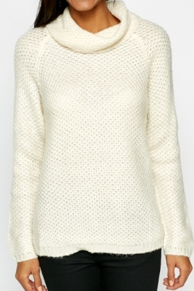 Cream Roll Neck Loose Knit Jumper