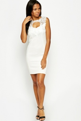 Crochet Cut Out Neck Bodycon Dress