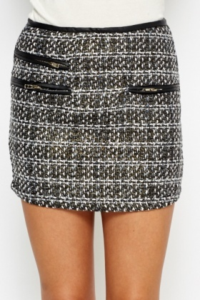 Faux Leather Trim Woven Mini Skirt