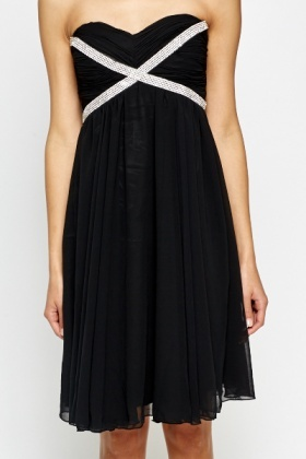 Encrusted Bandeau Skater Dress