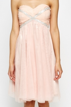 Encrusted Floaty Bandeau Dress