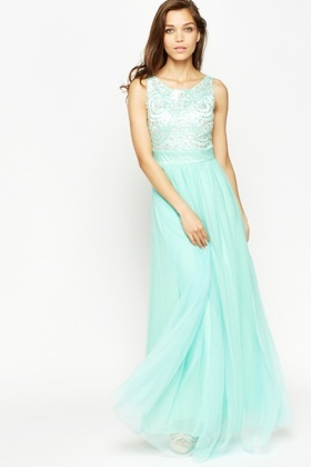 Mint Encrusted Maxi Dress