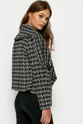 Mono Textured Waterfall Jacket