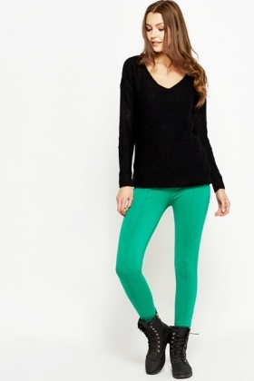 Stitched Front Green Leggings