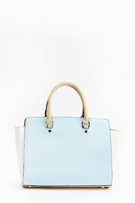 Faux Leather Two Tone Handbag