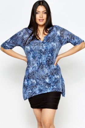 Blue Multi Animal Print Top