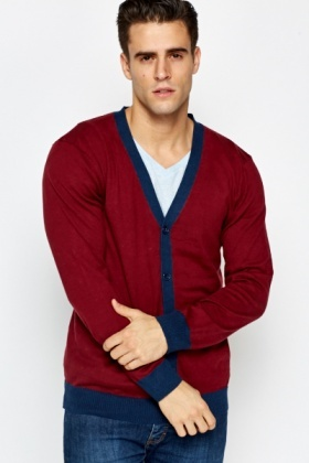 Contrast Trim Colour Block Cardigan