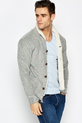 Fleece Lined Button Up Cardigan