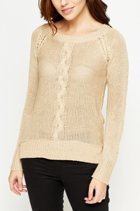 Cable Knit Panel Jumper