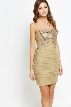 Ruched Bandeau Bow Front Dress