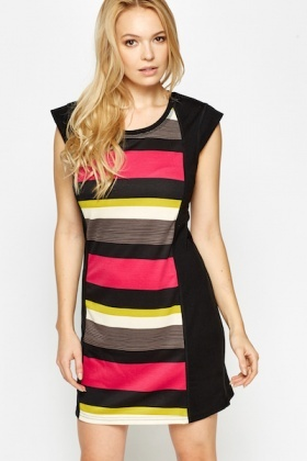 Striped Bodycon Cap Sleeve Dress