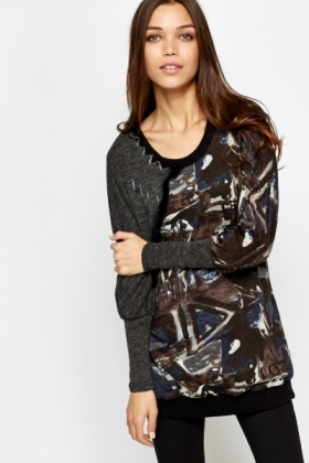 Mix Print Batwing Sleeve Jumper