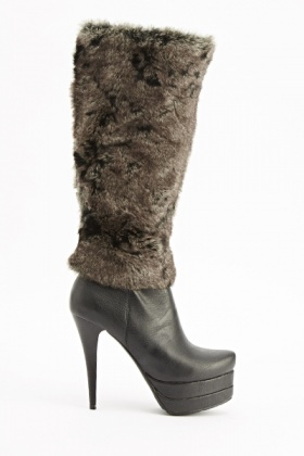 Black Faux Fur Heeled Boots