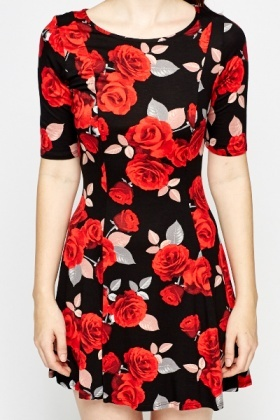 Black Rose Print Swing Dress