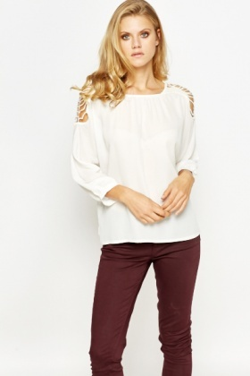 Crochet Shoulder Round Neck Blouse