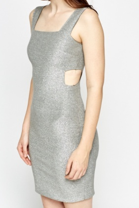 Cut Out Side Metallic Trim Dress