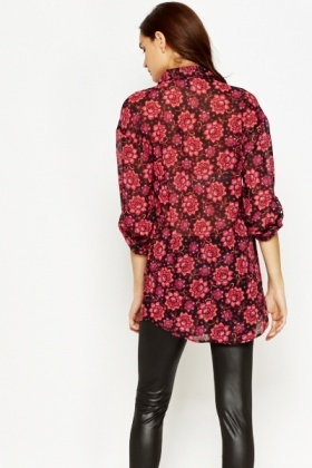 Long Black Multi Floral Blouse