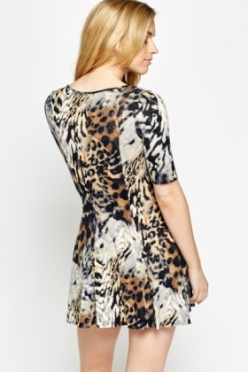 Mixed Animal Print Swing Dress