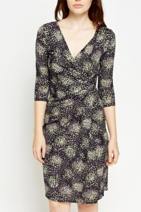 Cluster Polka Dot Wrap Dress
