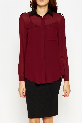 Contrast Collar Sheer Blouse