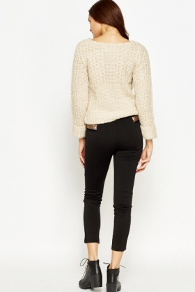 Encrusted Sides Black Leggings