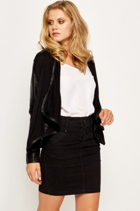 Faux Leather Sleeve Waterfall Cardigan