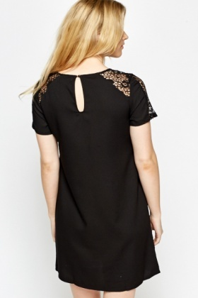 Lace Shoulder V-Neck Shift Dress