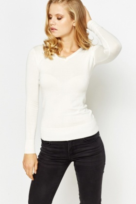 Slim Fit V-Neck Long Sleeve Top