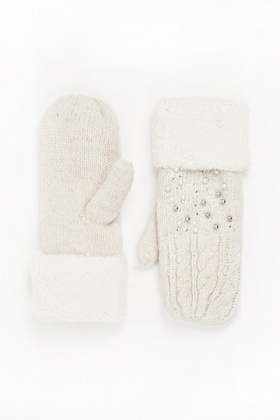 Embellished Faux Fur Trim Mitt Gloves