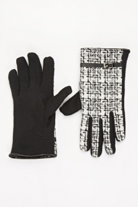 Woven Buckle Trim Gloves